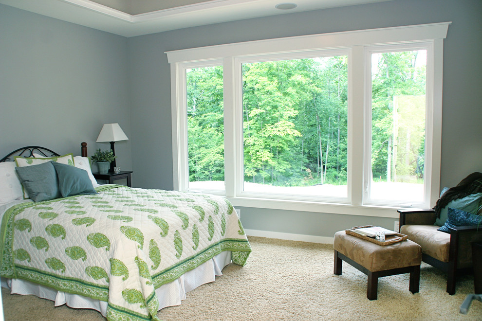 Paisley Quilt Bedroom Traditional with Bedskirt Beige Carpet Blue Wall Crown Molding Dust Ruffle Iron Beds Paisley