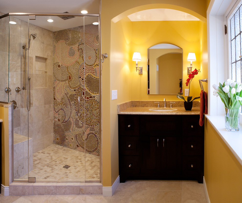 Paisley Sheets Bathroom Contemporary with Arch Arch Mirror Black Vanity Handheld Shower Head Mosaic Tile Flower Mosaic