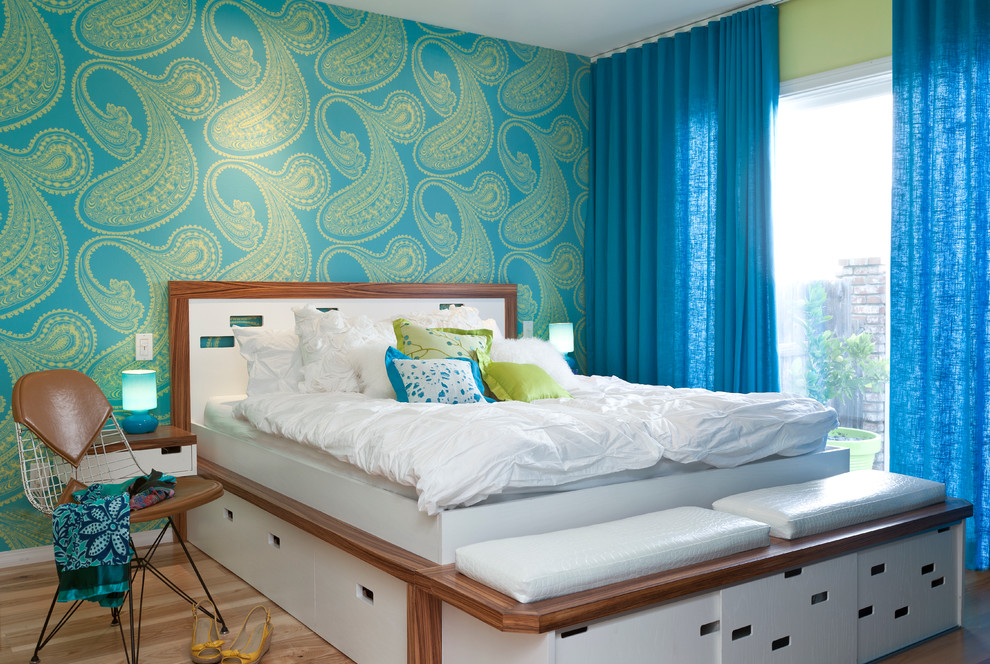 Paisley Sheets Bedroom Midcentury with Accent Wall Bedroom Bench Bikini Chair Blue Linen Curtains Drapes Cole And