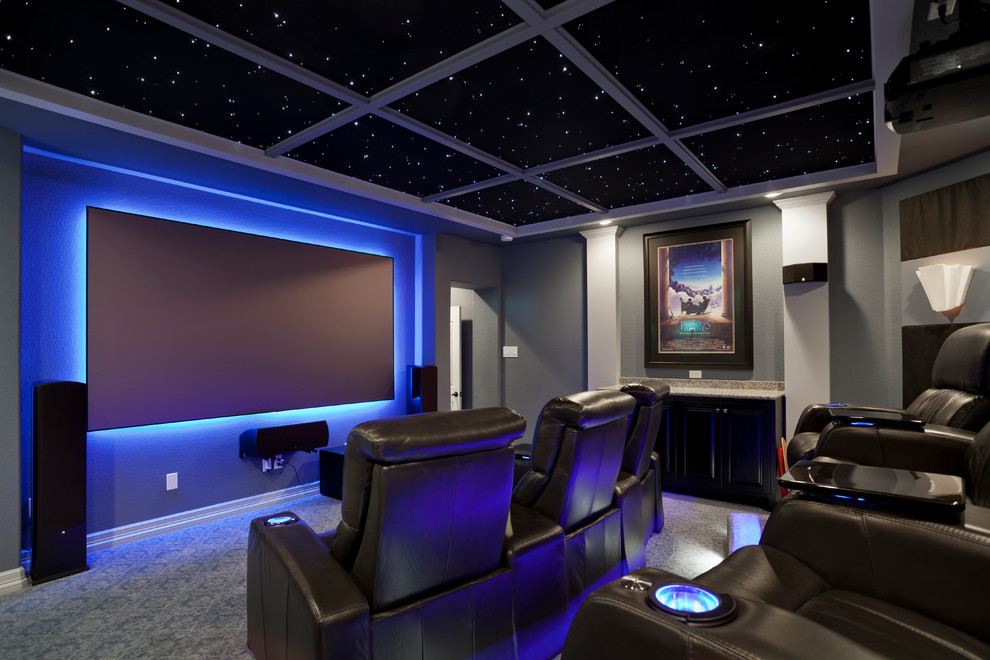 Palliser Home Theater Contemporary with Coffered Ceiling Gray Walls Leather Chairs Lounge Chairs Sconce Star Ceiling