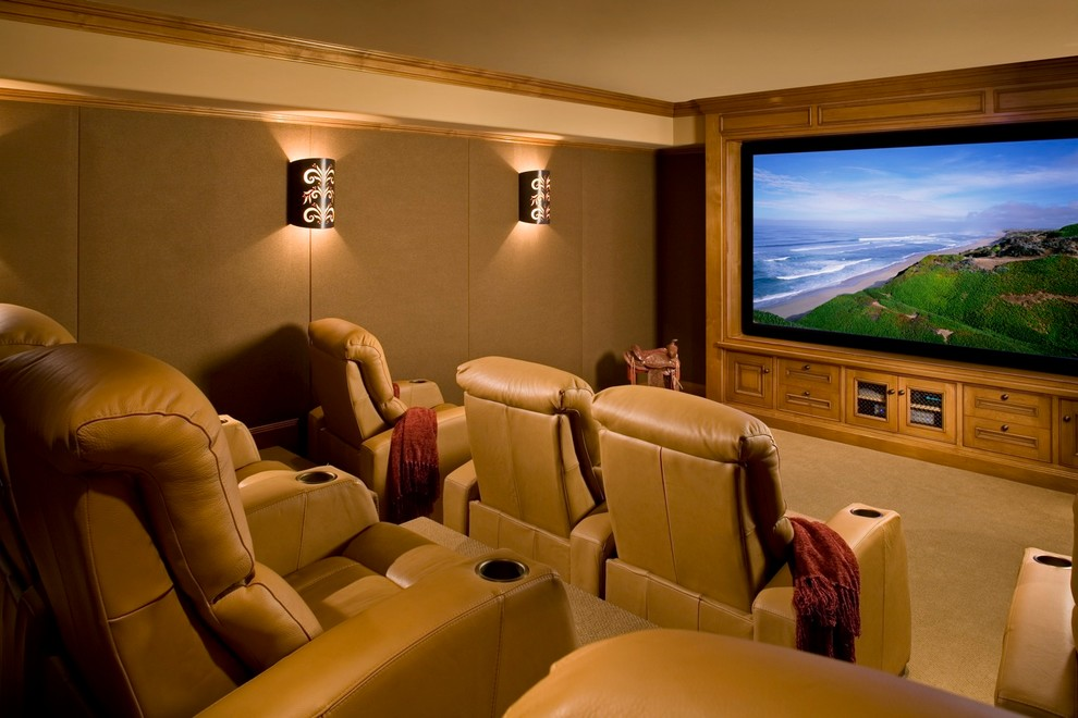 palliser Home Theater Rustic with beige carpet beige wall brown throw home movie theater Home Theater movie