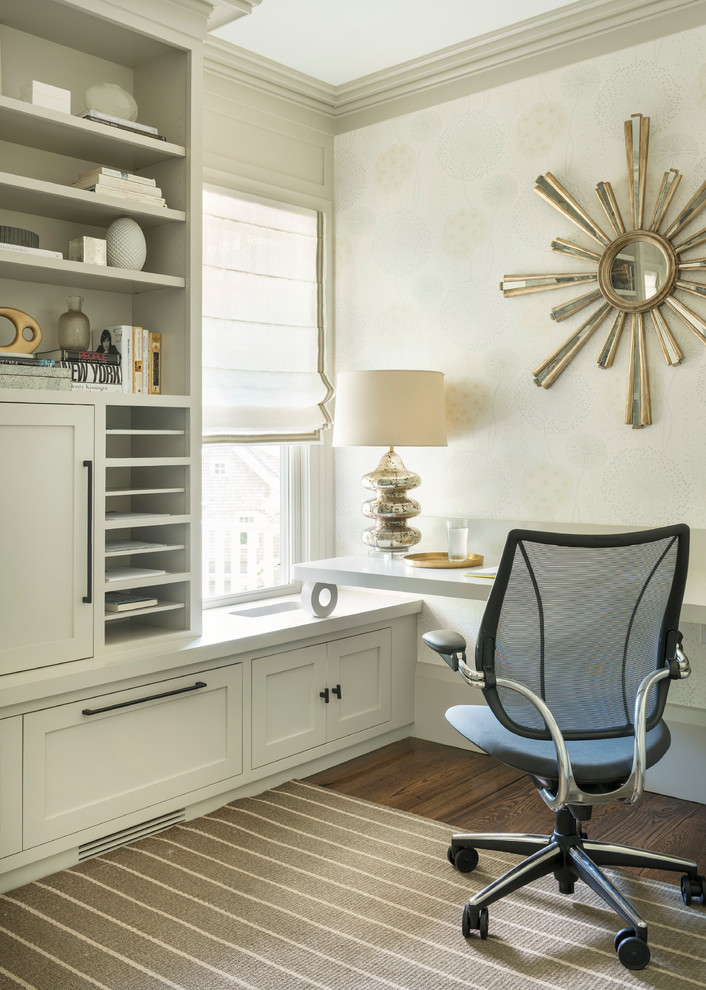 Paper Sorter Home Office Transitional with Built in Cabinetry Desk Chair Neutral Striped Rug Sunburst Mirror Wallpaper Window