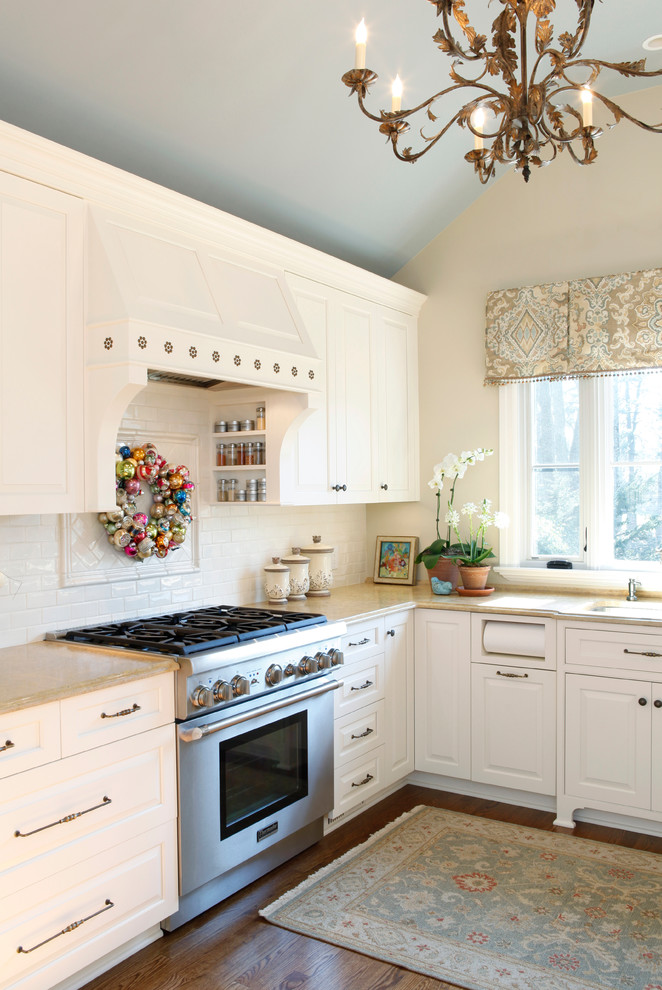 Paper Towel Holders Kitchen Traditional with Chandelier Christmas Wreath Fringe Hood Marble Paper Towel Holder Raised Panel Cabinets
