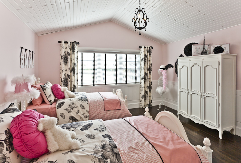 Paris Bedding Set Kids Contemporary with Armoire Beadboard Bed Pillows Bedroom Curtains Drapes Girls Room Pink Walls Sloped