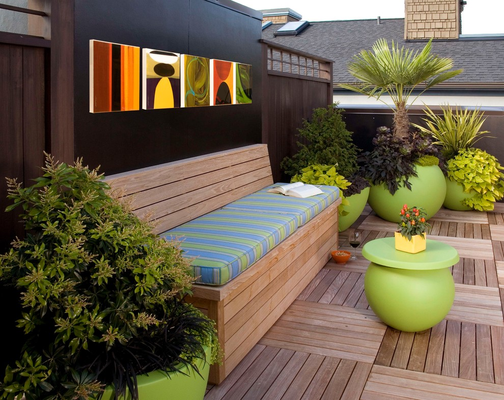 Park Benches for Sale Patio Modern with Bench Seating Colorful Pots Modern Coffee Table Potted Plants Roof Deck Seat