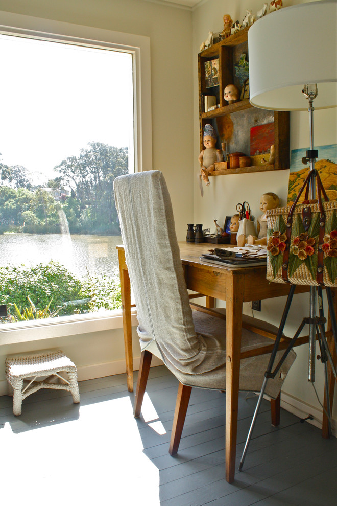 parson chair covers Home Office Eclectic with desk floor lamp grey floor large window painted wood floor rustic desk