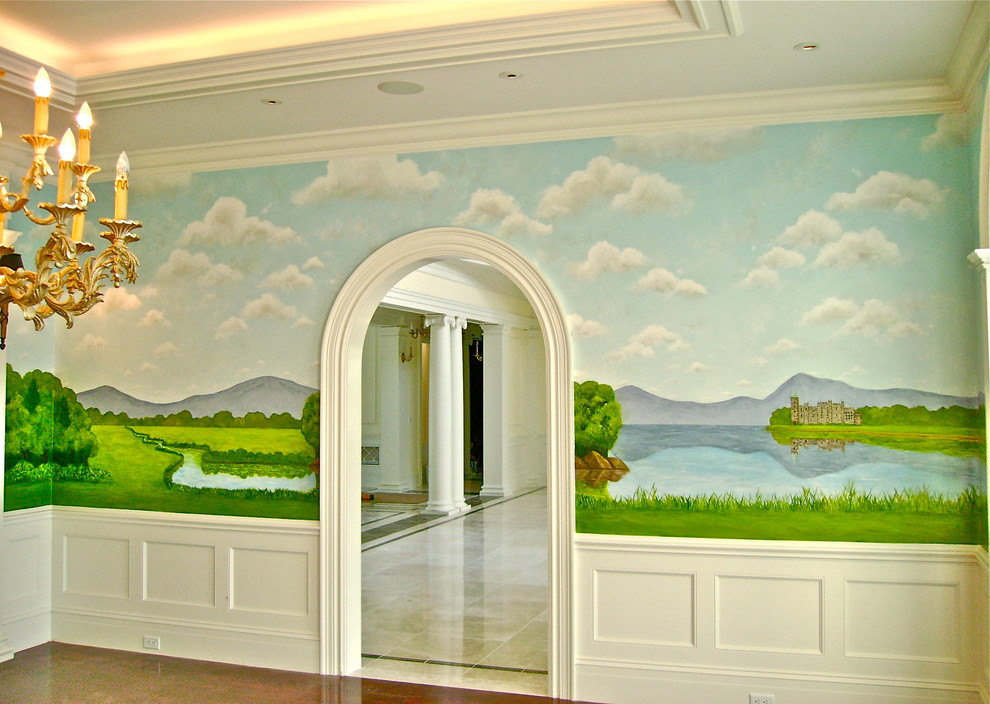 Parson Chairs Dining Room Traditional with Castles Depth Expansive Greenery Landscape Mural Pastel Colors Scenic Mural