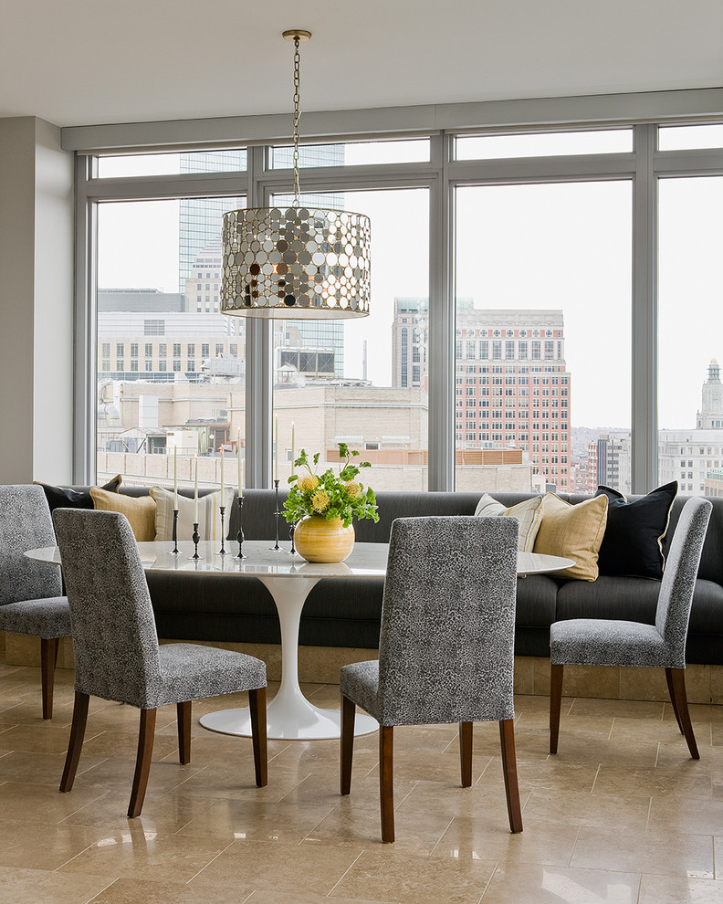 Parsons Chairs Dining Room Contemporary with Beige Floor Tile Built in Bench City View Gray Dining Chairs Mirrored Chandelier