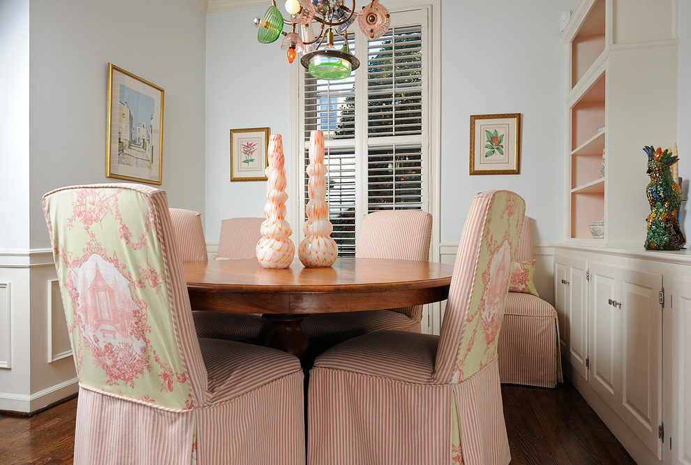 Parsons Chairs Dining Room Eclectic with Artwork Built in Cabinets Chair Rail Dining Table Framed Art Modern Chandelier Open