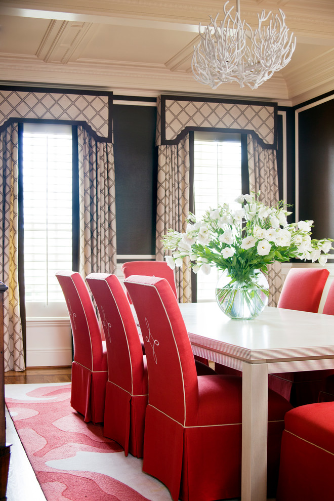 Parsons Chairs Dining Room Traditional with Antler Chandelier Beige and Black Curtains Beige Wall Trim Black Wall Ceiling