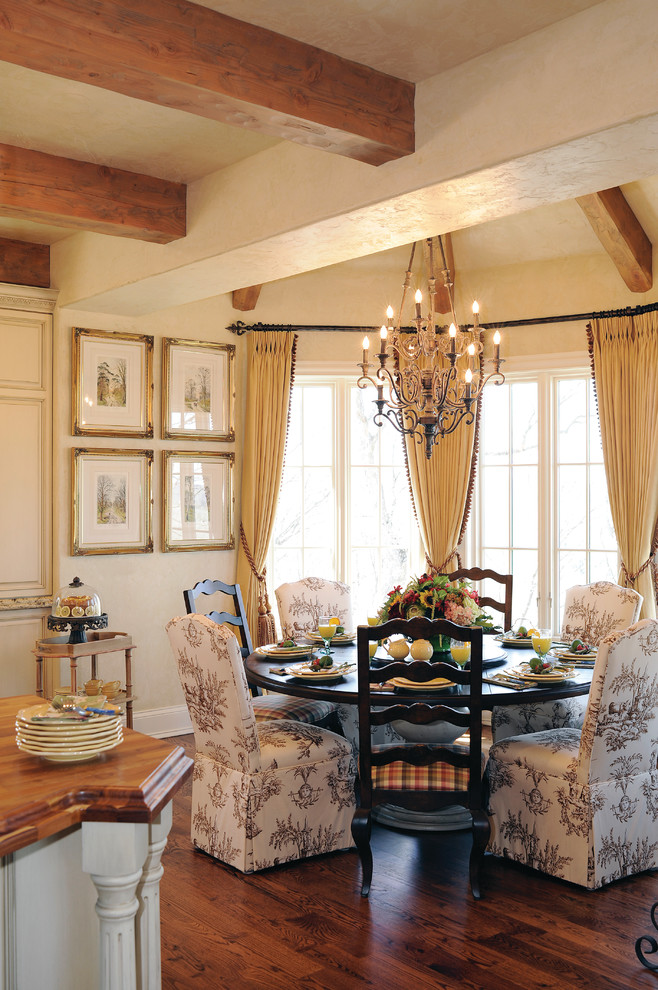 Parsons Chairs Dining Room Traditional with Breakfast Room Chandelier Pattern Dining Chairs Round Dining Table Wood Beams Wood