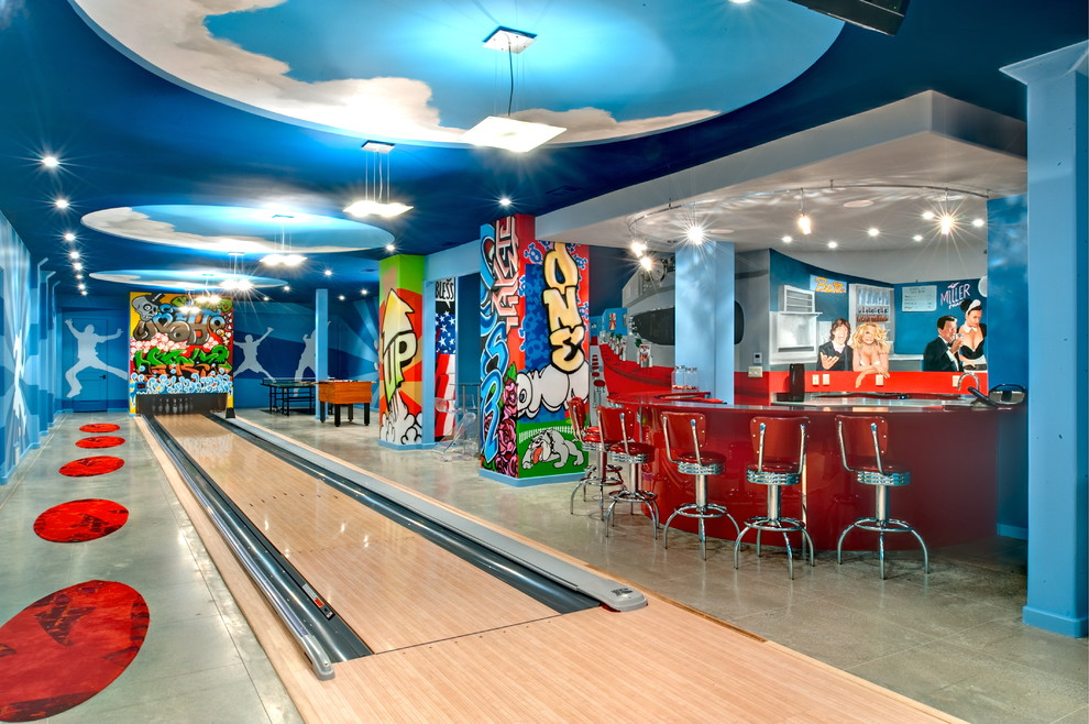 Pasta Bowls Set Basement Contemporary with Blue Ceiling Blue Wall Bowling Alley Ceiling Platform Cloud Ceiling Colorful Basement