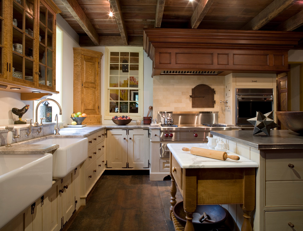 Pastry Mat Kitchen Farmhouse with Corner Cabient Kitchen Island Two Sinks Wall Oven Wood Beams Wood Ceiling