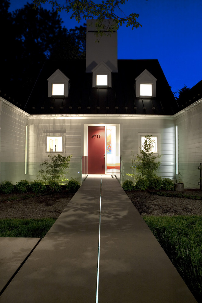Pathway Lights Exterior Transitional with Concrete Paving Dormer Windows Entrance Entry Front Door Garden Lighting Glass Railing