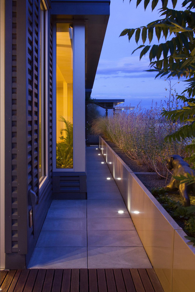Pathway Lights Landscape Modern with Concrete Pavers Corrugated Siding Mass Planting Night Outdoor Lighting Planters Recessed Lighting