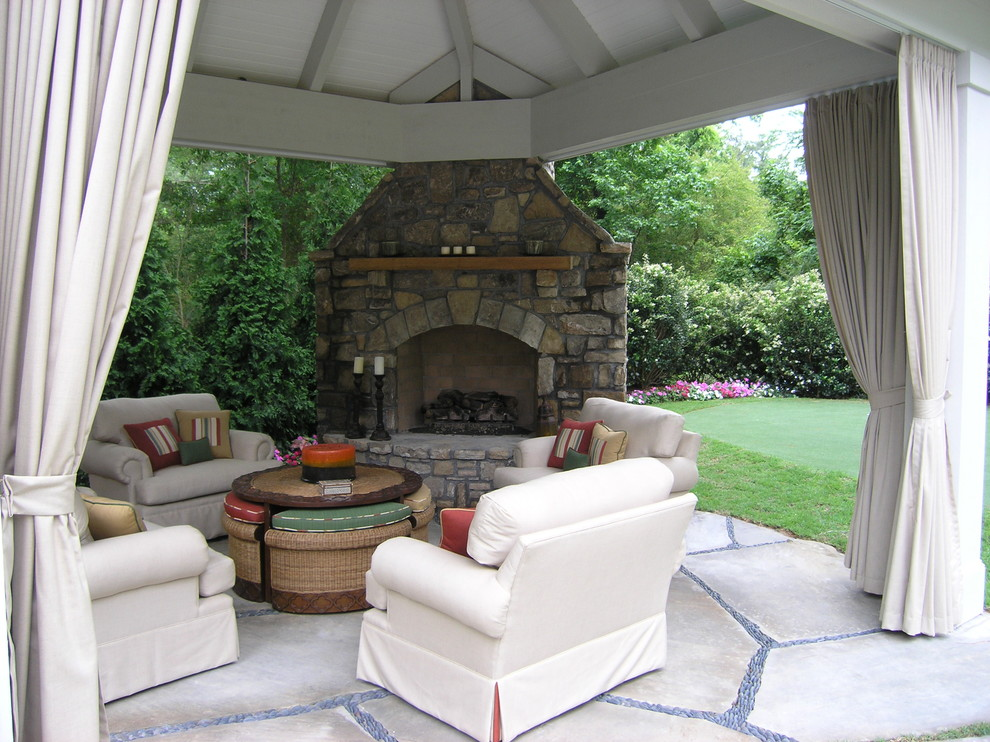 Patio Conversation Sets Patio Traditional with Cabana Curtain Fire Place Flagstone Hearth Mantle Outdoor Living Pebbles Seating Tongue
