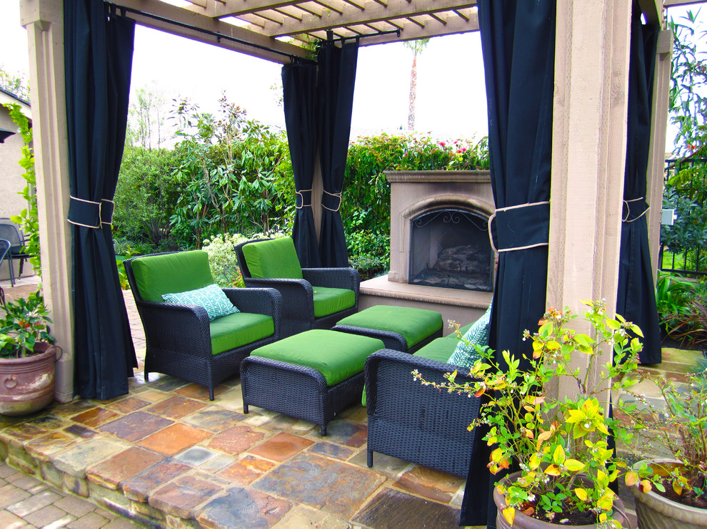 Patio Conversation Sets Patio Traditional with Dp Environments Fireplace Flagstone Landscape Lotus Oklahoma Stone Outdoor Curtains Outdoor Room