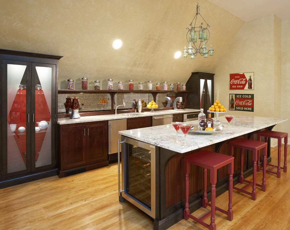 Patio Cooler Home Bar Eclectic with Angled Ceiling Asid Showhouse Bar Counter Beadboard Black Cararra Marble Coca Cola