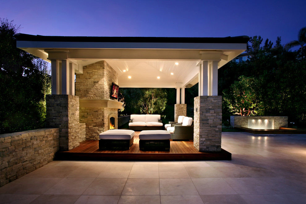 Patio Cooler Patio Traditional with Covered Patio Covered Structure Open Beam Structure Outdoor Fireplace Outdoor Furniture Outdoor