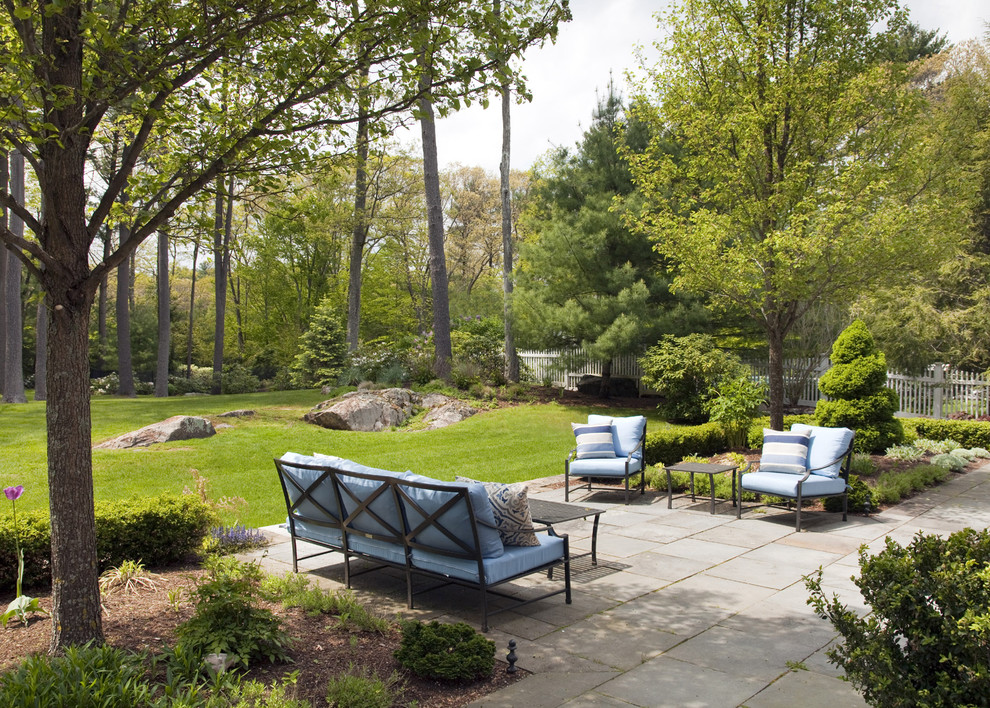 patio replacement cushions Landscape Traditional with backyard Backyard Seating bench seat Big Pavers blue cushions boulders coffee table