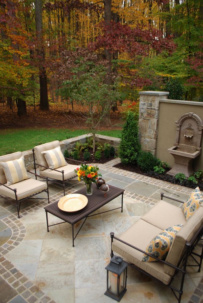 Patio Replacement Cushions Patio Traditional with Decorative Pillows Fountain Garden Wall Lanterns Outdoor Cushions Outdoor Lounge Patio Furniture