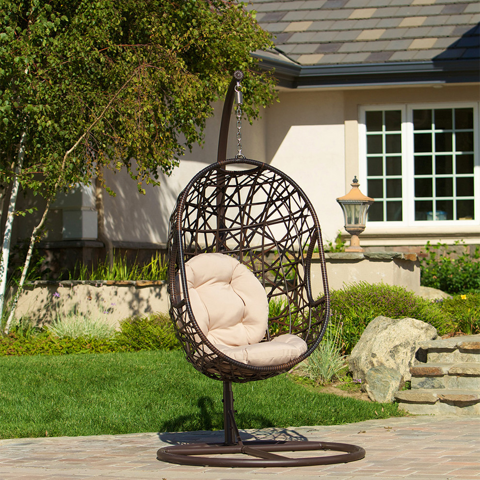 Patio Swing Chair Landscape Modern With Brown PE Wicker Egg Shell Chair  Outdoor Patio Swinging Chair