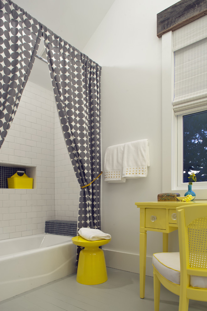 Patterned Curtains Bathroom Beach with Bathroom Coastal Color Contemporary Contemporary Bathroom Cottage Gray Tile Joel Snayd Kids
