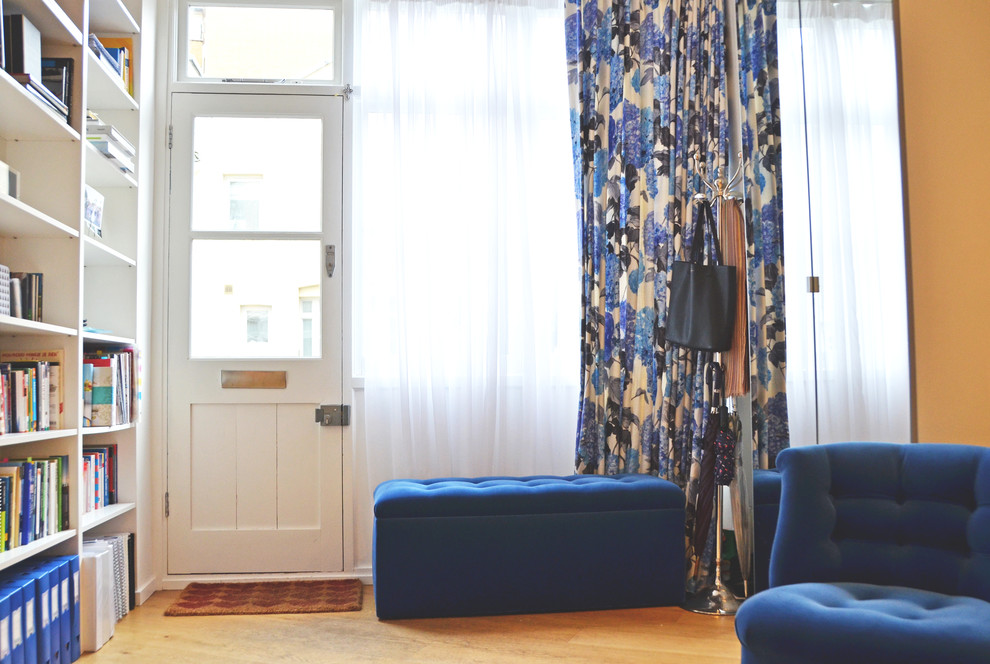 patterned curtains Entry Eclectic with bench seat bookshelves custom-made front doors sheer curtains velvet