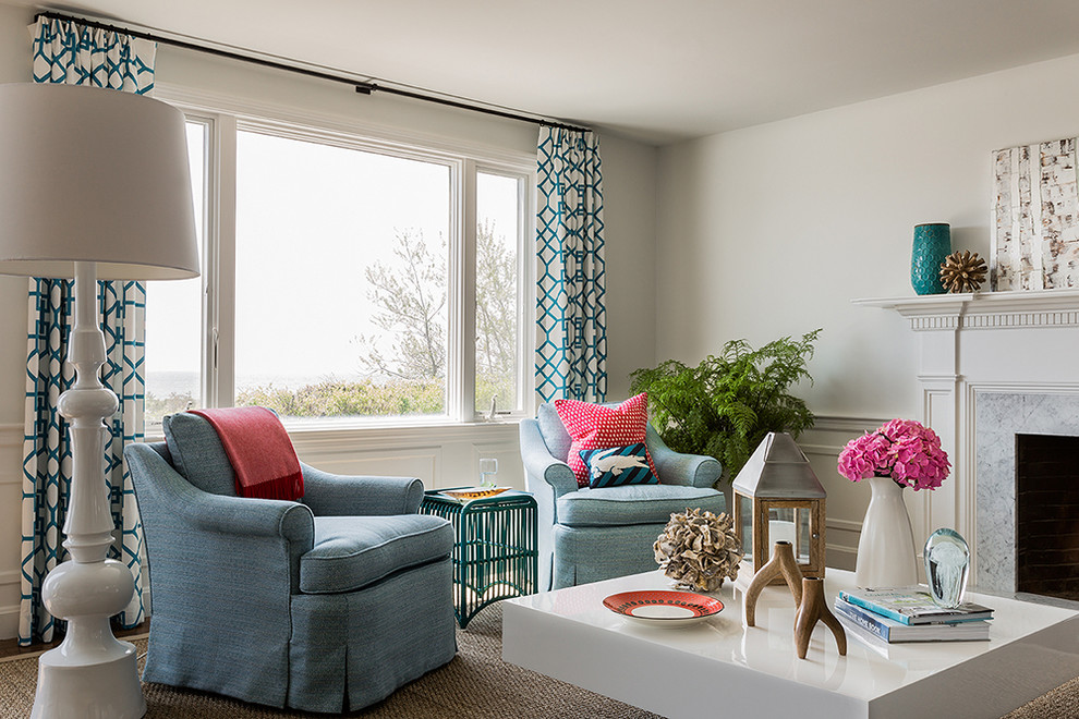 Patterned Curtains Living Room Contemporary with Airy Baseboard Beach Blue Armchair Cape Cod Coast Dentil Trim Floor Length1