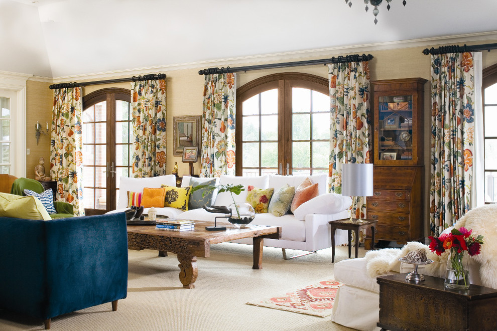 Patterned Curtains Living Room Traditional with Bold Patterns Curtains Decorative Pillows Drapes Floral Arrangement Mixing Patterns Mixing Prints
