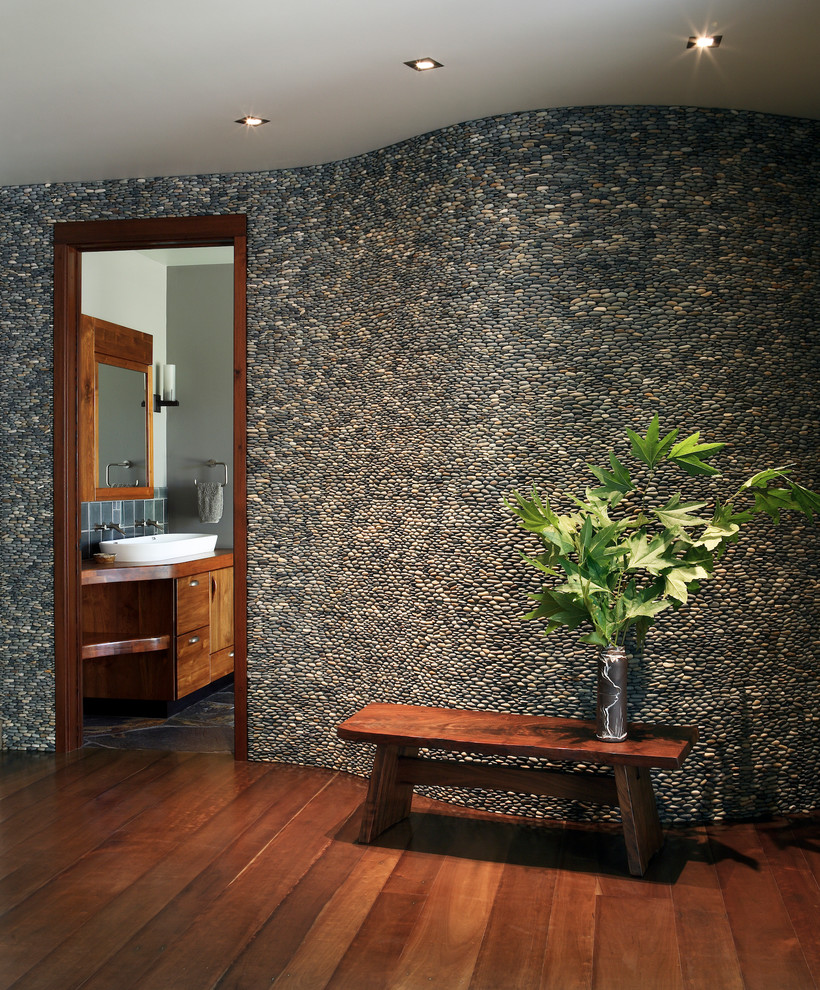 Patterned Sheets Hall Contemporary with Gray Wall River Rock Accent Wall River Rock Wall Rock Accent Wall