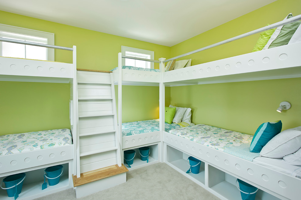 Patterned Sheets Kids Contemporary with Beach Home Beach Theme Bed Rails Bedroom Blue Bunk Beds Bunkroom Compact1