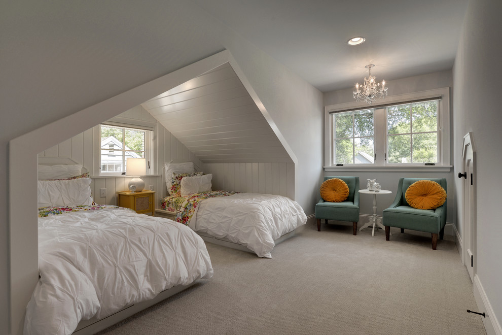 Patterned Sheets Kids Traditional with Blue Chairs Bunk Room Cove Cream Carpet Girl Bedroom Gray Walls Natural1