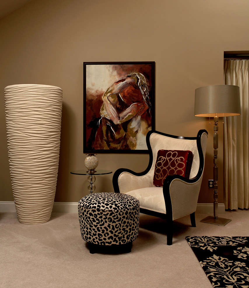 Paula Deen Bedroom Furniture Bedroom Contemporary with Animal Print Beige Wall Ceramic Vase Floor Lamp Glass Top Table Leopard