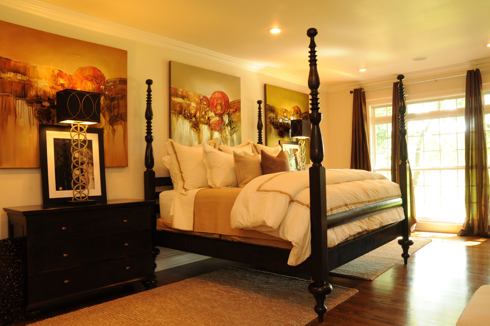 Paula Deen Bedroom Furniture Bedroom Traditional with Artwork Bed Pillows Bedside Table Ceiling Lighting Dark Floor Four Poster Bed