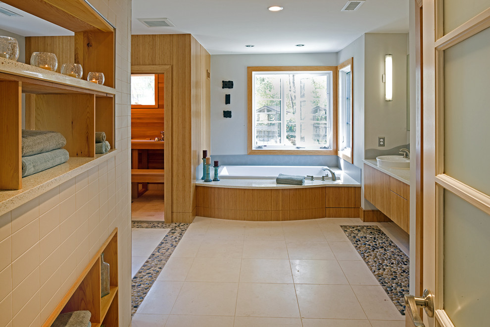 Pebble Tile Bathroom Contemporary with 3 Form Backsplash Bamboo Vanity Corner Windows Floor Tile Design Green Icestone Natural