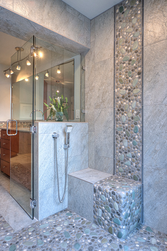 Pebble Tile Bathroom Contemporary with Contemporary Design Glass Tile Gray Tile Hand Shower Lighting Maple Cabinets Master