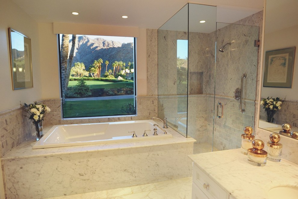 Pebble Tile Bathroom Modern with None