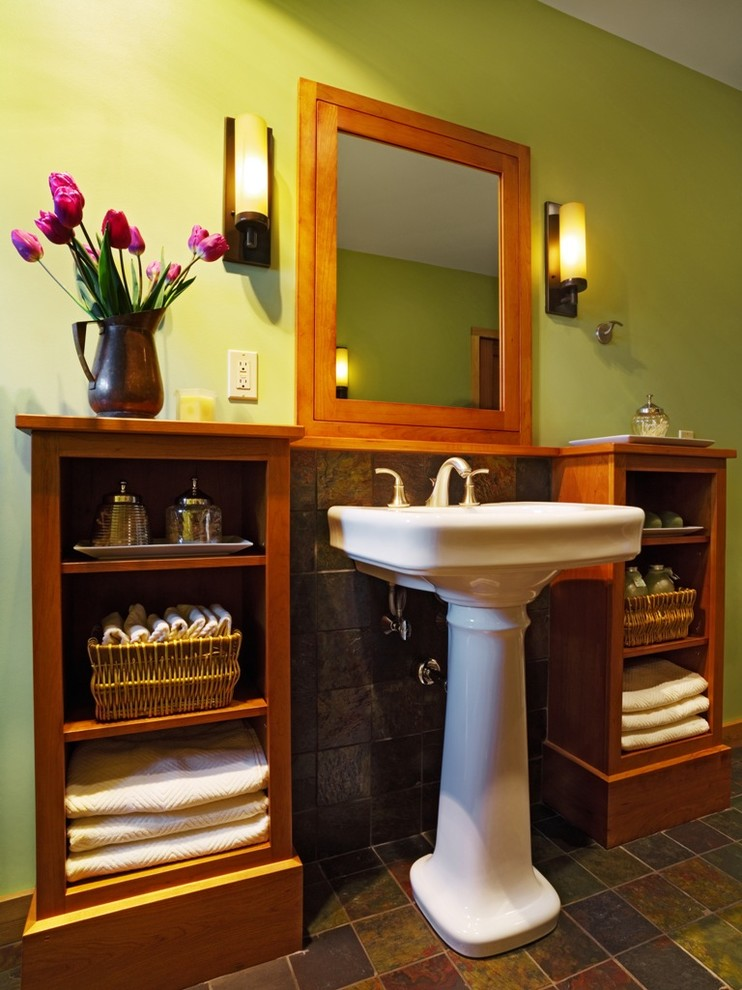 Pedestal Sink Bathroom Contemporary with Bathroom Built Ins Designbuild Green Bathroom Lime Green Pedestal Sink Peregrine Design Build