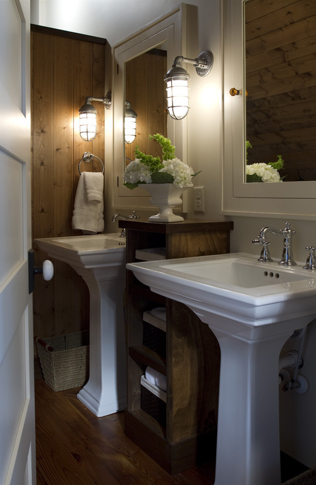 Pedestal Sink Bathroom Traditional with Arts and Crafts Bathroom Bathroom Lighting Cabin Cape Cod Cottage Craftsman Home