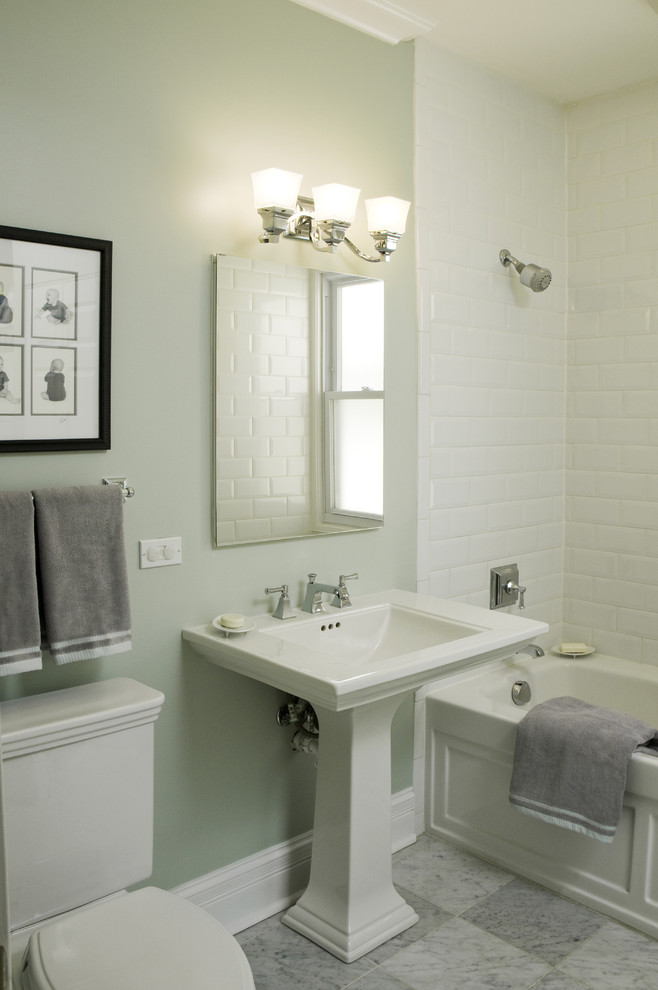 Pedestal Sink Bathroom Traditional with Baseboards Harlequin Floor Pattern Pedestal Sink Sconce Shower Tub Stone Shelving Subway