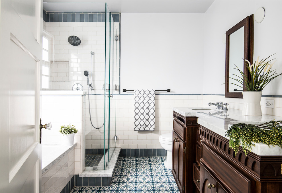 Pedestal Sink Bathroom Traditional with Blue and White Floor Tile Blue and White Tile Tile Wainscoting Two