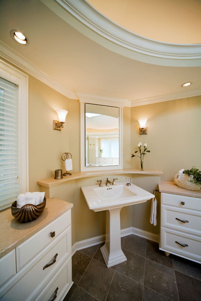 pedestal sinks Bathroom Traditional with gold marble counter marble ledge pedestal sink recessed lights tile floor wall