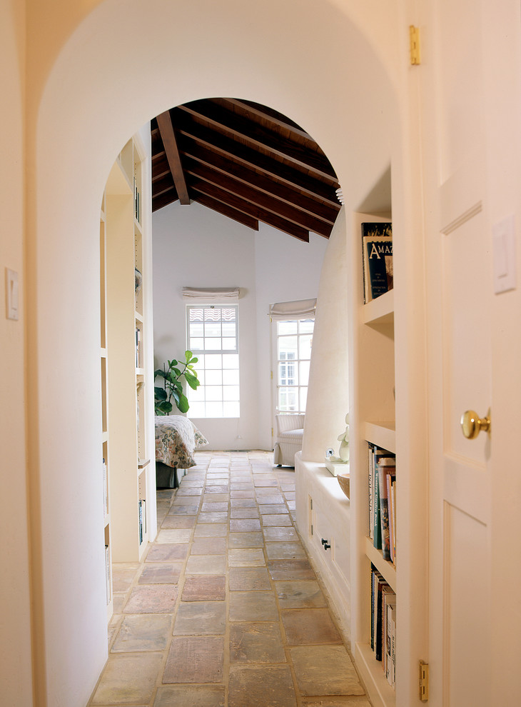 Peel and Stick Flooring Bedroom Mediterranean with Arch Built in Book Shelves French Roof Tile Floor Stained Wood Ceiling