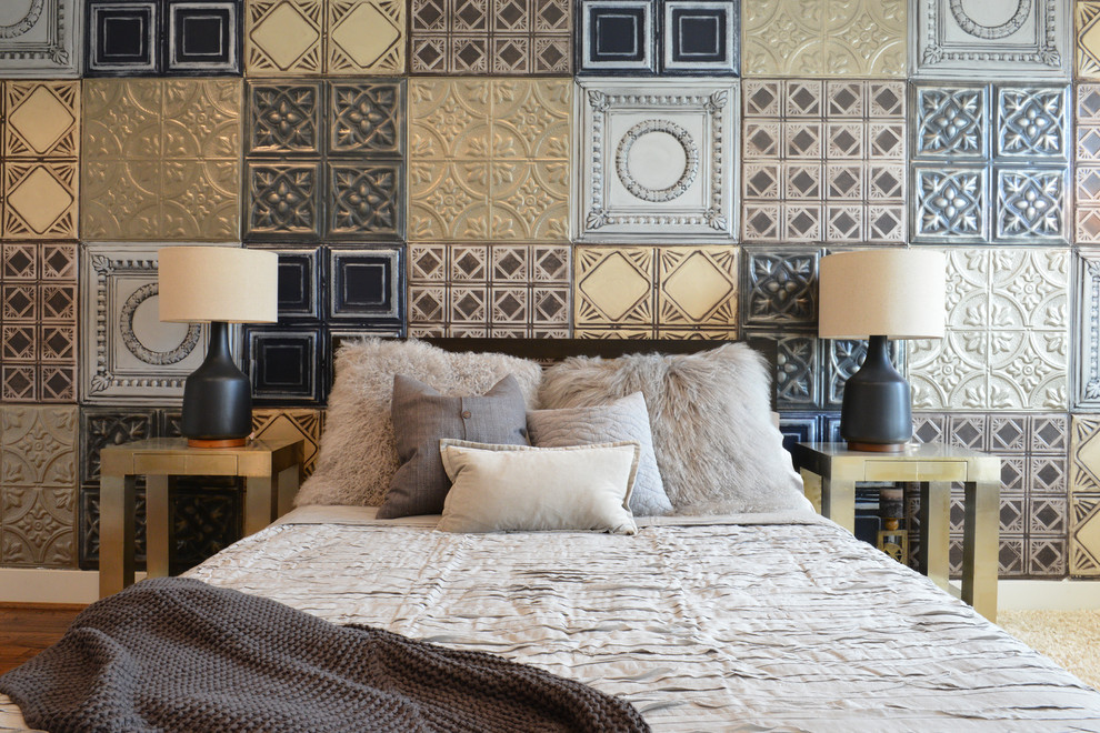 Peel and Stick Wall Tiles Bedroom Industrial with Black Bedside Lamp Gray Bedding Gray Fur Pillow Layers of Texture Metal