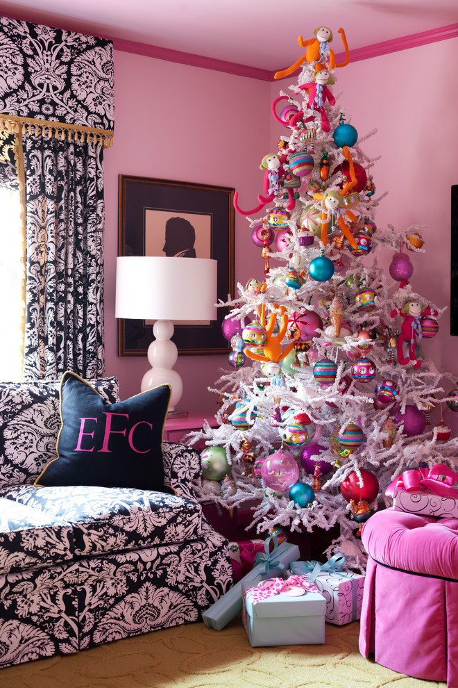 Pencil Christmas Trees Living Room Eclectic with Beige Rug Bright Colors Curtains Decorative Pillows Holiday Painted Walls Pink Pink