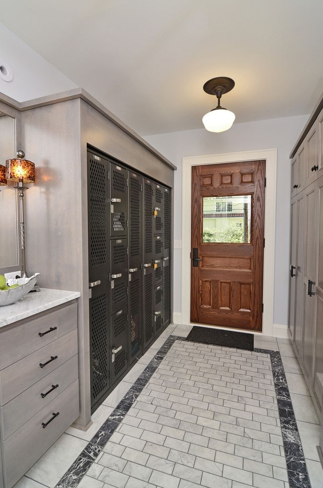 Penco Lockers Entry Traditional with Back Door Baseboards Built in Storage Closet Door Casing Gray Grout Lockers Marble