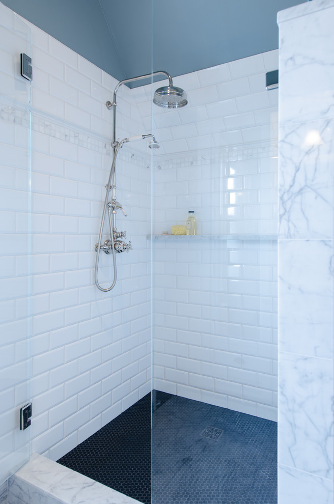 Penny Round Tile Bathroom Traditional With Benjamin Moore Cloudy Sky