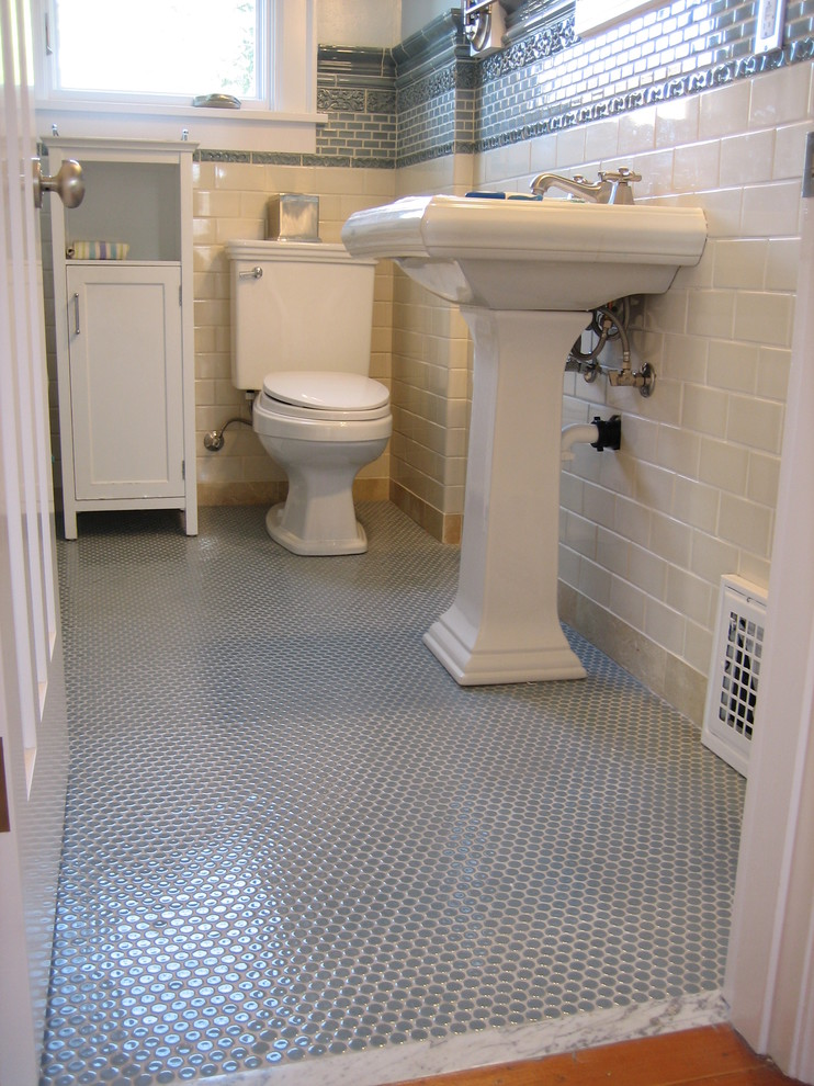 Penny Tile Floor Bathroom Traditional with None 1