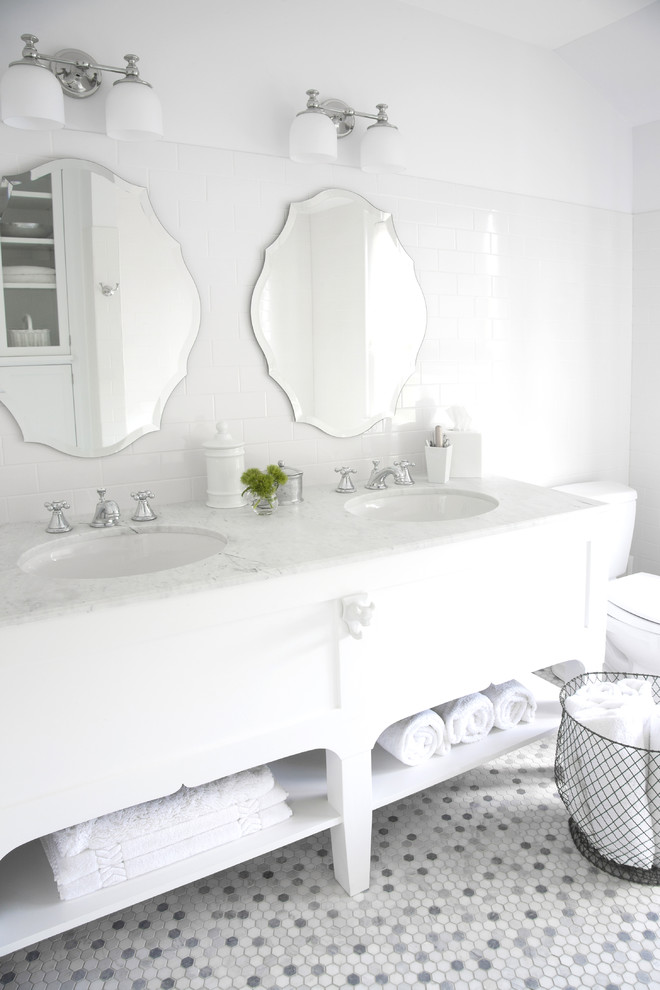 Penny Tile Floor Bathroom Transitional with Carrara Penny Hex Tile Double Vanity Vintage Mirrors White Bathroom